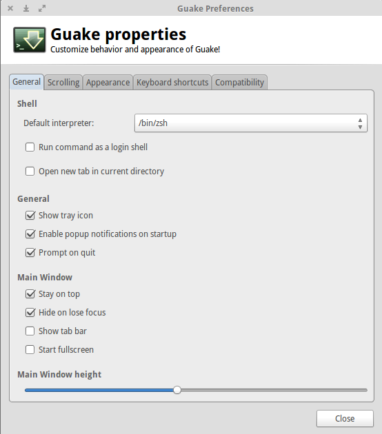 properties Preferences for Guake Terminal